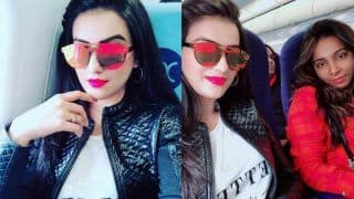 Bhojpuri Sensation Akshara Singh Looks Hot in White T-Shirt And Leather Jacket as She Heads to Ranchi For Award Show