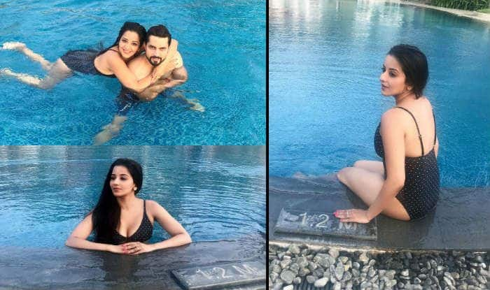 Bhojpuri Hot Actress Monalisa Poses in Sexy Black Swimsuit With Hubby Vikrant Singh Rajpoot Inside Pool