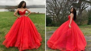 Punjabi Bombshell Sonam Bajwa Looks Smoking Hot in Lia Stublla's Red Princess Gown And Curly Hair
