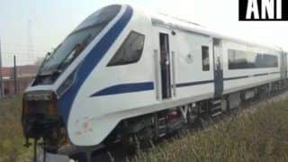 India's First Semi-high Speed Train Vande Bharat Zooms Past at Lightening Speed - Watch