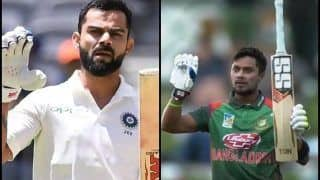 New Zealand vs Bangladesh 3rd ODI: Sabbir Rahman Imitates Virat Kohli's Bat-Talking' Celebration | WATCH VIDEO