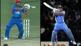 Afghanistan's Hazratullah Zazai Modifies MS Dhoni's Helicopter Shot to Hit Boundary Against Ireland | WATCH VIDEO