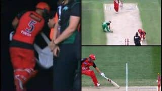 BBL 2019 Final: Aaron Finch Smashes Chair After His Unluckiest Ever Dismissal During Melbourne Renegades vs Melbourne Stars T20 Match | WATCH VIDEO