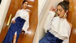 Television Hotness Hina Khan Looks Her Sexiest Best in White-Blue Outfit And Bold Red Lips as She Attends Lakme Fashion Week 2019 - See Pics