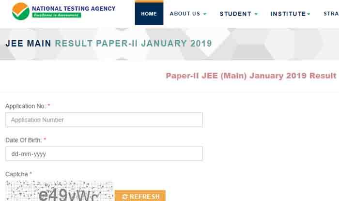 JEE Main 2019 Paper 2 Result: jeemain.nic.in पर रिजल्ट घोषित, इस Direct Link पर चेक करें