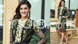 Luka Chuppi Star Kriti Sanon Grabs All Eyes in Yellow-Black Animal Print Short Dress And Netted Long Cape, See Pictures