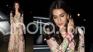 Kriti Sanon Spotted at Famous Restaurant in Juhu Donning Floral Peach Easy-Breezy Gown, See Pictures