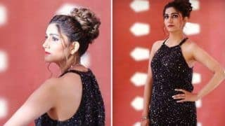 Haryanvi Sexy Dancer Sapna Choudhary Looks Sizzling Hot in Shimmery Black Gown And Red Lips in Her Latest Photoshoot