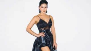 Sunny Leone Looks Hot AF in Thigh-high Black Latex Gown And Shiny Lips as She Poses For The Camera in Her Latest Picture