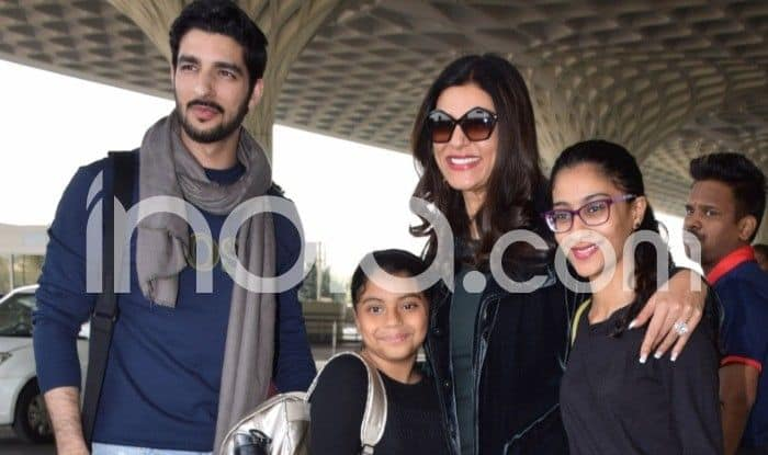 Sushmita Sen Spotted at Airport With Her Boyfriend Rohman Shawl And Daughters Alisah And Renee, See Pictures