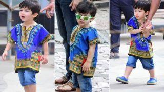 PICS: नीले रंग की कमीज और हरे चश्में में तैमूर के जलवे, इतने प्यारे लग रहे हैं कि किसी की नज़र न लगे