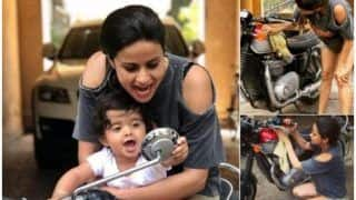 Actor-Entrepreneur Gul Panag Introducing Baby Boy Nihal to Bike Polishing And Ride is Mommy Goals, See Video