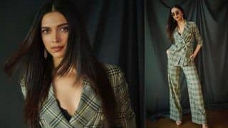 Deepika Padukone Looks Classy in Green Checked Pantsuit And Nude Pointed Heels, See Pictures