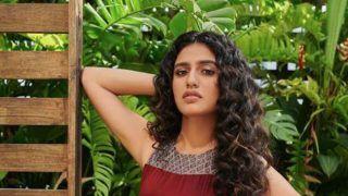 Internet Sensation Priya Prakash Varrier Looks Hot Yet Sexy in Wine Colour Dress- See Pics