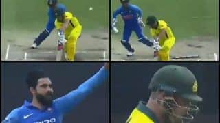 5th ODI: Ravindra Jadeja Clean Bowls Australian Captain Aaron Finch With a Beauty in Decider at Feroz Shah Kotla | WATCH VIDEO