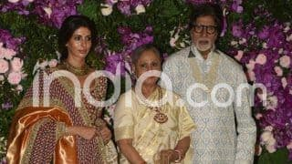 Akash Ambani-Shloka Mehta Wedding: Amitabh Bachchan, Jaya Bachchan And Shweta Bachchan Strike a Royal Pose at Ceremony