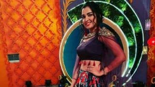 Bhojpuri Bombshell Amrapali Dubey Looks Sizzling Hot in Blue Choli And Floral Lehenga as She Shoots For 'Memsaab Number 1'