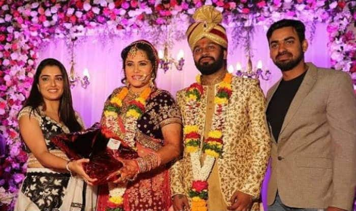Amrapali Dubey along with newlywed Seema Singh and Saurav Kumar
