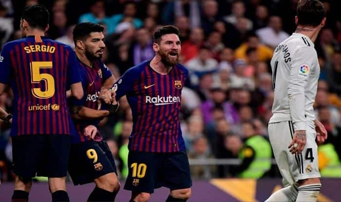Barcelona's Lionel Messi squaring up against real Madrid skipper Sergio Ramos-picture credits-Twitter