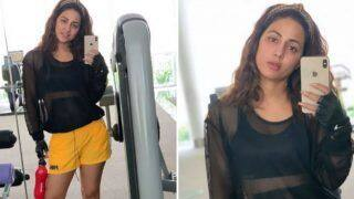 Hina Khan Looks Sizzling Hot as She Flaunts Her Perfectly Toned Curves in Black Sheer Top And Yellow Shorts in Post Workout Selfies