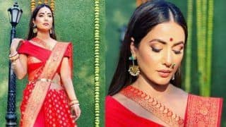 Television Hottie Hina Khan Flaunts Her Komolika Swag in Banarasi Saree And Kamarbandh as Newly-wed Bride