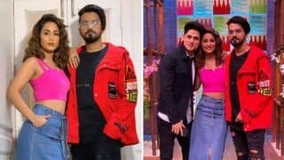Hina Khan Looks Smoking Hot in Pink Crop Top And Denim Skirt as She Poses With Beau Rocky Jaiswal And Priyank Sharma