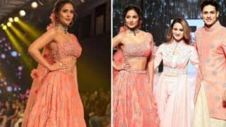 Hina Khan, Priyank Sharma Twin in Peach as They Walk The Ramp For Sonali Jain