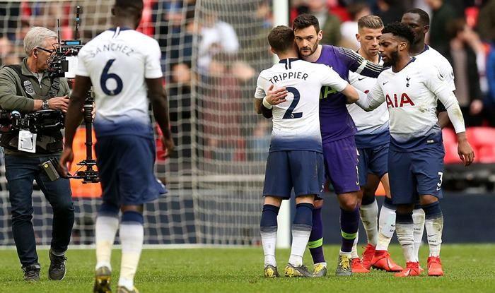 Hugo Lloris after producing match-winning save against Arsenal_picture credits Tottenham Hotspurs Twitter