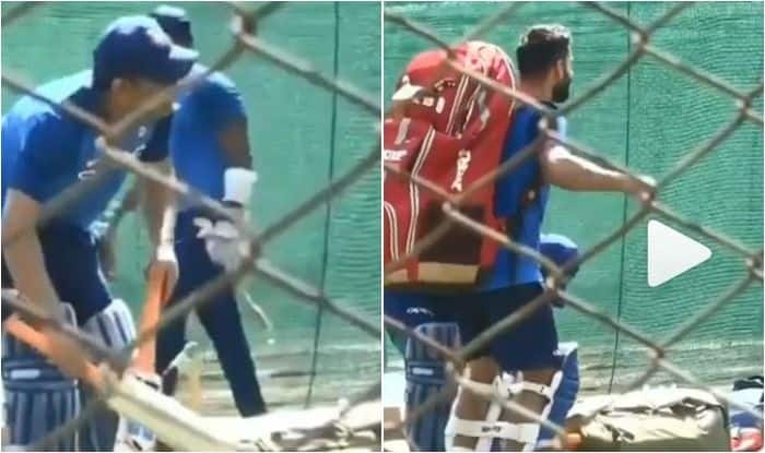 MS Dhoni Watches as Virat Kohli Shakes a Leg During Practice Session Ahead of 2nd ODI Against Australia   WATCH VIDEO