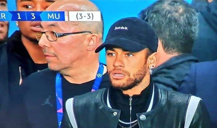 PSGs-Neymar-After-Manchester-Uniteds-3rd-Goal-in-UCL