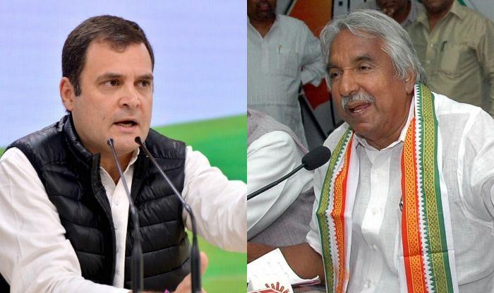Congress leaders Rahul Gandhi and Oommen Chandy