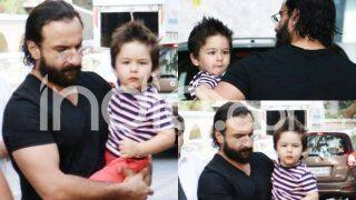 Taimur Ali Khan Spotted With His Father Saif Ali Khan in Cool Spiked Hair, Gives The Cutest Expression to The Shutterbugs; See Pictures