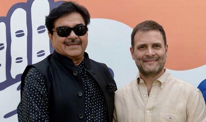Shatrughan Sinha with Rahul Gandhi. Photo Courtesy: IANS