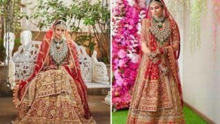 Shloka Mehta Beams With Happiness as She Strikes a Pose in Abu Jani Sandeep Khosla's Bridal Lehenga