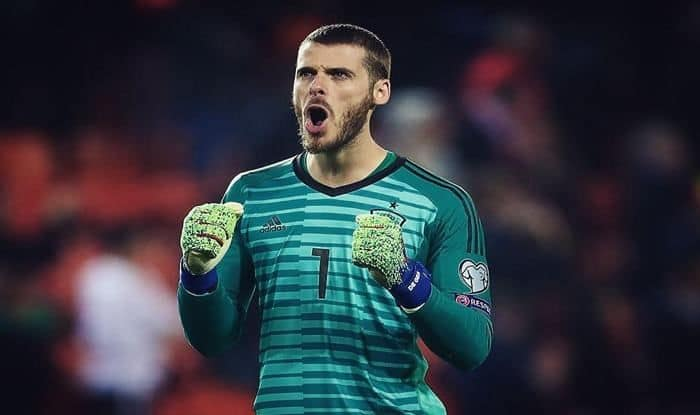 Spain national football team wins first match of Euro qualifiers, Davide De Gea celebrates