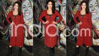 Sunny Leone Promotes The Season Finale of Karenjit Kaur: The Untold Story of Sunny Leone in a Stunning Red And Black Polka-Dotted Dress, See Pictures