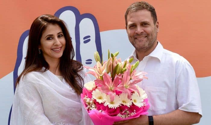 Bollywood actress Urmila Matondkar with Congress president Rahul Gandhi
