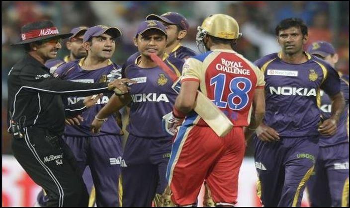 Virat Kohli goofing up against Gautam Gambhir in IPl_Picture credits -Twitter