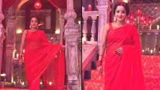 Bhojpuri Actress Monalisa Gives Sexy Vibes Dressed up in a Hot Red Saree - Watch
