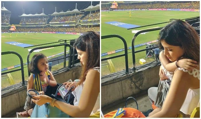 MS Dhoni's Daughter Ziva's Cute Tantrums While Hugging Mom Sakshi During an Ongoing Match Melts Fans Hearts, Pictures Rage Viral on Internet