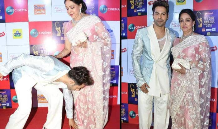 Zee Cine Awards 2019: Varun Dhawan Touches Hema Malini's Feet at Red Carpet And Gives One of The Best Moments From The Show