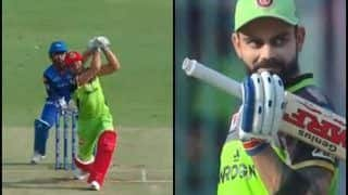 IPL 2019: Marcus Stoinis Hits a Monstrous Six of Sandeep Lamichhane During RCB v DC, Virat Kohli's Expression is Priceless | WATCH VIDEO