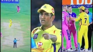 IPL 2019: MS Dhoni Loses Cool, Walks Into The Ground During RR v CSK as Mitchell Santner Hits Last-Ball Six | WATCH VIDEO