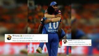 IPL 2019: Prithvi Shaw Jumps to Kagiso Rabada's Lap to Celebrate David Warner's Wicket During SRH v DC, Twitter Finds it Hilarious | WATCH VIDEO