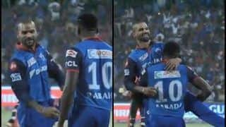 IPL 2019: Shikhar Dhawan Does Thigh Five During DC vs RCB, Kagiso Rabada Lifts Him to Celebrate Wicket | WATCH VIDEO