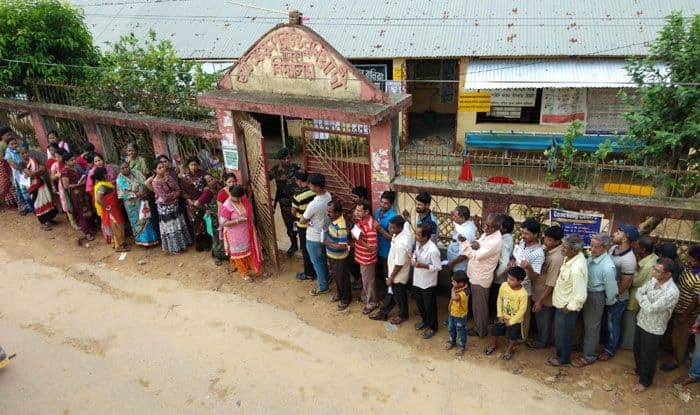 People at a polling booth in Agartala