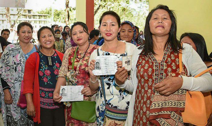 Voters waiting in line in Arunachal Pradesh