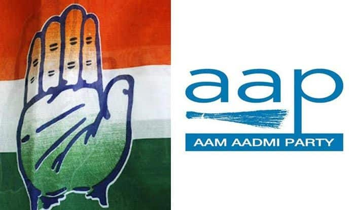 Congress and Aam Aadmi Party logos