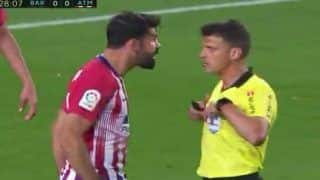 Atletico Madrid's Diego Costa  Abuses Match Referee, Loses Calm After Red card Against Barcelona| WATCH