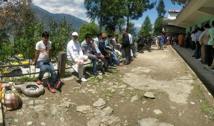 People at a polling station in East Sikkim